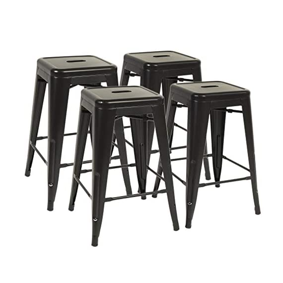 """FDW Metal Bar Stools Set of 4 Counter Height Barstool Stackable Barstools 24 Inch 30 Inch Indoor Outdoor Patio Bar Stool Home Kitchen Dining Stool Backless Bar Chair (Black, 24"""") 1 ❤【STACKABLE AND EASY TO STORAGE】: Each bar stools is the same size, and the feet are open to the outside, which is a special design to storage.Durable bar stools can be stacked and to save storage space when you don't need them. ❤【THE MATTE RUST-PROOF METAL STOOLS】: The 30"""" bar stools is protected by high-quality paint, high-quality paint forms a protective film on the surface of the bar stools, which is scratch-resistant and smell-free. Easy to clean, and suitable for a wide range of occasion. ❤【PROTECT THE FLOOR】: Anti-slip plastic mats on the four feet of the bar chair,can be slip-resistant and protect your floor when you move it. There are four pedals around the bar stools. When you are tired, you can placed your feet on footrest, relax and enjoy your time."""