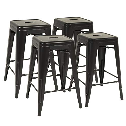 "FDW Metal Bar Stools Set of 4 Counter Height Barstool Stackable Barstools 24 Inch 30 Inch Indoor Outdoor Patio Bar Stool Home Kitchen Dining Stool Backless Bar Chair (Black, 24"")"