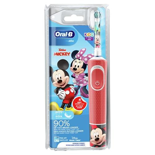 Oral-B Kids Brosse à Dents Électrique Rechargeable avec 1 Manche et 1 Brossette, enfant de 3 ans et plus, Pour un brossage en douceur, Édition Mickey
