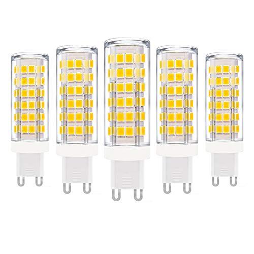 ZFQ Lampadine a LED G9 Senza Sfarfallio, Senza Stroboscopico, con Base in Ceramica, 9W, Equivalenti a 90W, 900LM, Bianca Calda 3000K, Bassa Temperatura, AC 110-240 V, Non Dimmerabili, Confezione da 5