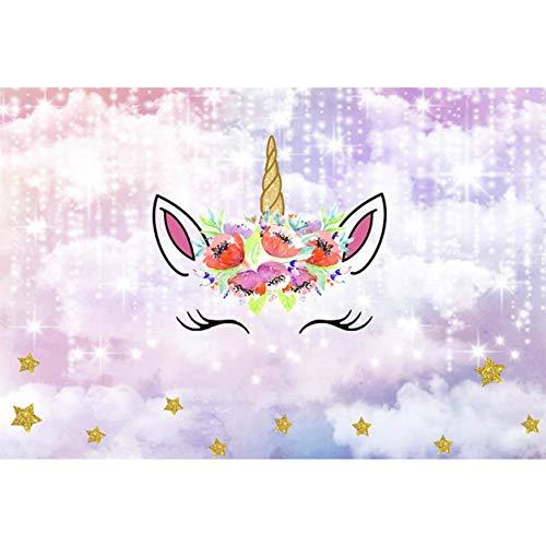 aiyinhuofen Patrón funcional de unicornio arcoíris para fotografía de cumpleaños infantil...