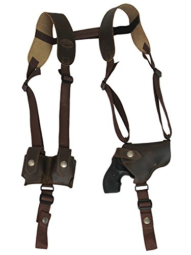 Barsony New Horizontal Brown Leather Shoulder Holster w/Speed-Loader Pouch for Taurus 85; 405; 415 Left