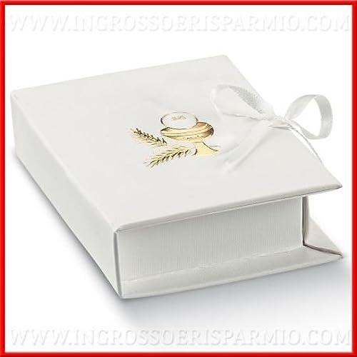 handel und Spaßen Schachtel Konfekt aus Hartpappe Binaco A Form von Buch mit Goldenem Druck Vorderseite City Kelch und Ostia, Verschluss mit B chen Bomboniere Kommunion kit 48 pz. Confetti Mix