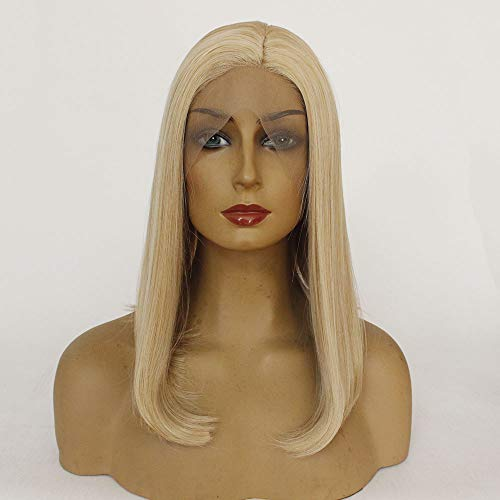 Wig Female Mixed Gold Wave Head Half-hand Hook Front Lace Chemical Fiber Head Set Role Play Halloween Everyday Wig 12 inches