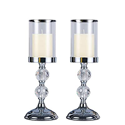 2balls ClearCrystalGlassPillarCandleHolder, TaperCandleStandCandlesticks, Tea-Light Hurricane-candleholders from Kamayic