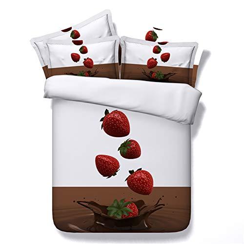 CHAOSE Bettwäsche Set,Superweiche Polyester-Baumwolle,3D Digital HD Malerei 3-teilig (1 Bettbezug + 2 Kissenbezüge) (Schokoladen-Erdbeere, Single Size(135x200cm+2/70x50cm Einzelbett))