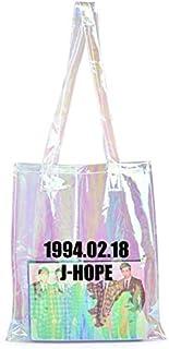 KPOP BTS PU Leather Transparent Bag Shiny Tote Bag s Bookbag Handbag for Girls