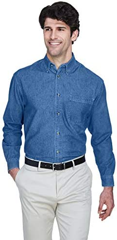 Ultra Club Men s Tall Long Sleeve Denim Shirt with Pocket XLT Indigo product image