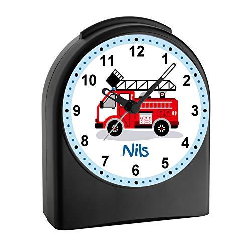 CreaDesign, WU-50-1023, Feuerwehr, analog Kinderwecker schwarz, Funkwecker ohne Ticken, mit Licht, personalisiert mit Namen, 9,6 x 5,5 x 11,9 cm, 104 g