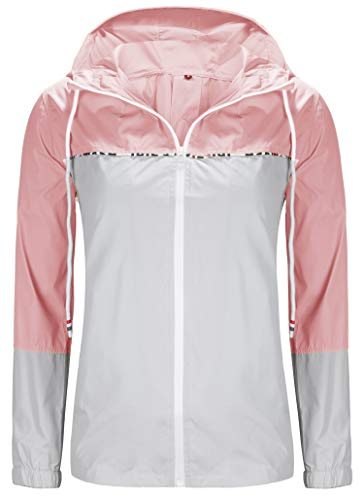 ZEGOLO Women's Raincoats Waterproof Packable Colorblock Windbreaker Lightweight Active Outdoor Hooded Rain Jacket S-XXL