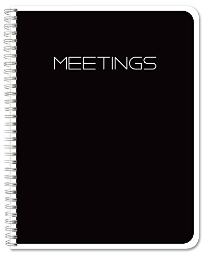 "BookFactory Meeting Notebook/Meeting Book - Black 120 Pages (Ruled Format), 8.5"" x 11"", Wire-O Bound (MTG-120-7CW-A-(Meetings-K)-MX)"