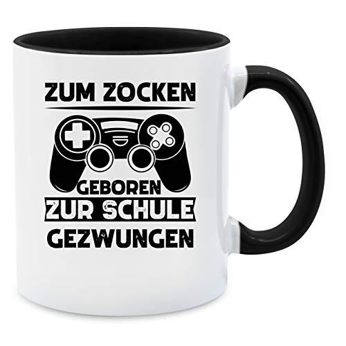 Tasse mit Spruch - Zum zocken geboren zur Schule gezwungen schwarz - Unisize - Schwarz - Tasse zum zocken geboren zur Schule gezwungen - Q9061 - Kaffee-Tasse inkl. Geschenk-Verpackung