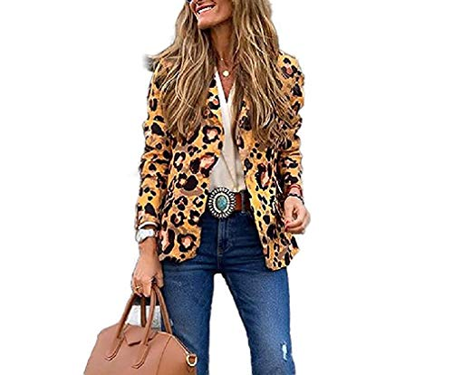 Zoayeps Women Notch Collar 1 Button Blazer Leopard Printed Slim Fit Outwear