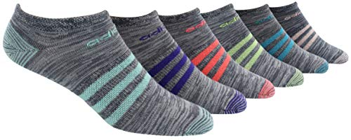 adidas Women's Superlite No Show Socks (6-Pair), Onix - Clear Onix Space Dye/Easy Green/Energy Ink Bl, Medium, (Shoe Size 5-10)