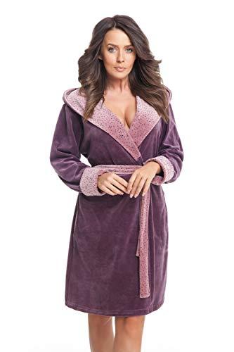 DOROTA trendiger und gemütlicher Damen Baumwoll-Bademantel mit Kapuze und Jackentaschen, made in EU, violett-Pünktchen, Gr. S