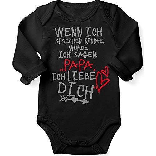 Mikalino Babybody mit Spruch für Jungen Mädchen Unisex Langarm Wenn ich sprechen könnte würde ich Sagen: Papa ich Liebe Dich | handbedruckt in Deutschland |, Farbe:schwarz, Grösse:62