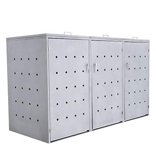 *Zelsius Mülltonnenbox Rhombus Cement für 3 Mülltonnen je 120 und/oder 240 Liter I Mülltonnenverkleidung mit 3 Klappdeckel I Metall Müllbox I abschließbar*