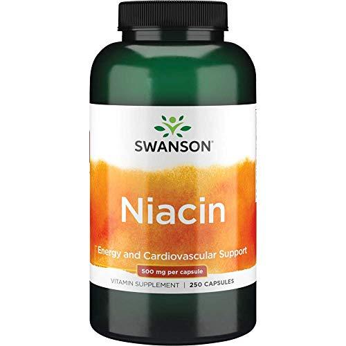 Swanson 500mg Niacina Vitamina B3 Suplemento 250 Cápsulas 500 g