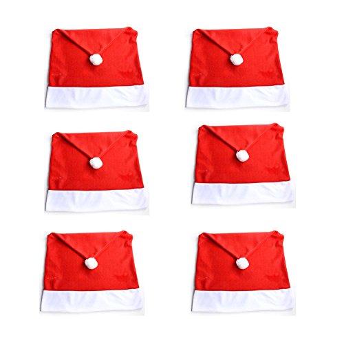 Genérico diseño navideño de Papá Noel Color Rojo con Pompones de Copos de Nieve, Fundas de Tela de Respaldo Corto, 50 cm x 70 cm, 6 Unidades, Fieltro.