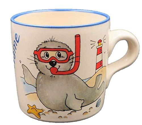 Namenstasse Seehund Taucherbrille / Tasse mit Namen / Robbe Brille / Carstens Keramik