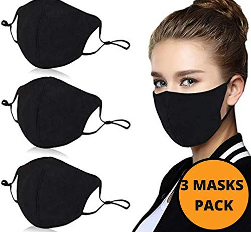 BBrand 3 Pack Black Face Mask Washable-Reusable, Cotton, Anti-Dust, Protection from Dust, Pollen, Official The B Brand Seller
