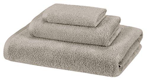 Amazon Basics Quick-Dry Towels - 100% Cotton, 3-Piece Set, Platinum