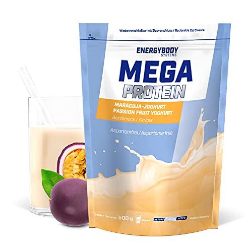 """Energybody Mega Protein """"Maracuja-Joghurt"""" 500 g/Mehrkomponenten Protein mit Casein Whey Mix als Eiweißshake/Eiweisspulver ohne Aspartam/Protein-Pulver / 20 Portionen"""