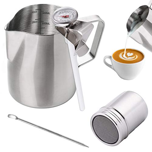 WXJ13 Milk Jug 900ml/32OZ, Stainless Steel Milk Frothing Pitcher, Milk Thermometer with Clip, Powder Shaker with Lid and Latte Art Pen for Hot Chocolate Cappuccino Coffee Latte Art Maker