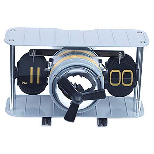 Gannon Front Flugzeug Flip Wanduhr Creative Home Clock Automatische Seite Drehen Craft Clock (Color : Blue)