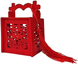 Lorigun Chinese Style Candy Box Wedding Candy Wooden Box Double Xi Word is Auspicious and Wishful Festive Octagonal Box Gift Box Hollow Wooden Sweets Box with Tassels for Wedding Favors 10 Pcs