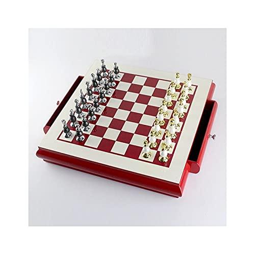 HYAN Juego de Tablero de ajedrez de Madera de Alto Grado Creative Zinc Alloy Paint Piezas de ajedrez para Sala de Estar Adornos de Regalo Artesanía Juego de Mesa ( Color : Red )