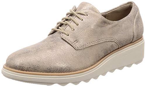 Clarks Sharon Crystal, Zapatos de Cordones Derby Mujer, Beige (Pewter-), 37.5 EU