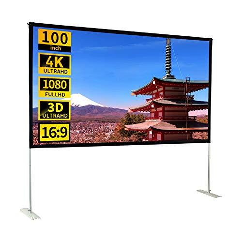 プロジェクタースクリーン 100インチ 16:9 自立式 ポータブル HD 室内室外兼用 視野角160° しわなし スクリーン 会議室、ホームシアター、教室などに適しています