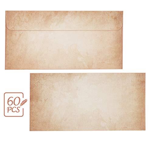 Mocraft 60 Stück Vintage Umschläge DIN lang Briefumschläge alt Vintage Mittelalter antik für Einladungkarten Geschenkkarten, ohne Fenster