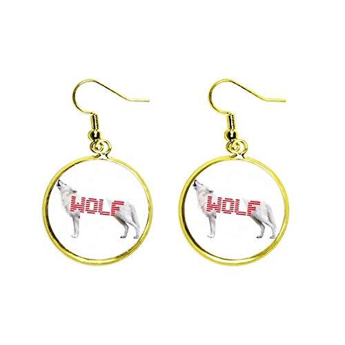 White Wolf Howled Stood Art Deco Gift Fashion Ear Dangle Golden Drop Earring Jewelry Woman