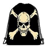 IUBBKI Strapazierfähiger Rucksack mit Kordelzug Böser Totenkopf mit Knochen Warnschild zum Mitnehmen