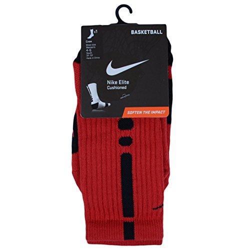Nike Men's Elite Basketball Crew Socks, Small - University Red/Black/Black