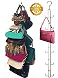 Over Door Hanging Purse Storage Organizer - Purse Hanger for Closet HEAVY DUTY CHROME, Holds 50lbs, ROTATES 360 for easy access; Purses, Handbags, Crossovers, Backpacks,12 Hooks