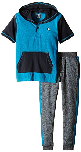 American Hawk Little Boys' Jersey Hooded Henley and Matching Fleece Pant