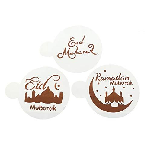 BOBEINI Backpad, 3 Stück/Set Eid Mubarak Ramadan Kaffee Blumenspray Schablonen Moschee Keks Backen