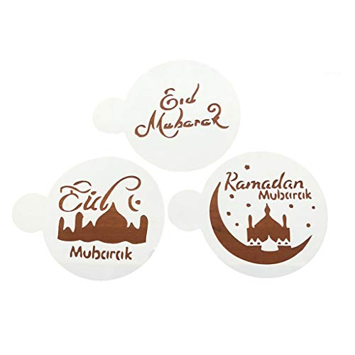 angwang 3 Pcs/Set Eid Mubarak Ramadan Coffee Flower Spray Stencils Mosque Biscuit Baking Cake Mold Decorating DIY Cake-Decoration Festival Party Supplies White
