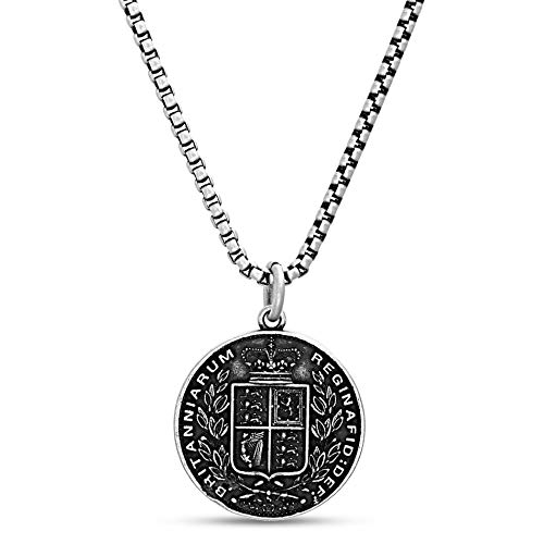 Steve Madden Men#039s Oxidized Queen Victoria Crown Coin Design Pendant Chain Necklace in Stainless Steel Silver 28