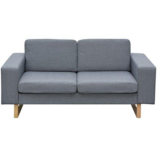 Festnight 2-Sitzer Sofa Stoff Polstersofa Loungesofa Couch Stoffsofa Wohnzimmer Sitzm?bel mit Holzrahmen 156x82x76cm Hellgrau