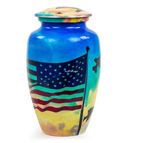 Nagina International Military American Flag Cremation Urn Jar | Cremation Urn with Lid | Pet & Adults Cremation Aluminum Metal Urns