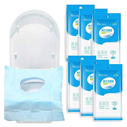 Gudotra 60pz Copriwater USA e Getta Impermeabile Monouso per WC per Viaggio Ospedale Casa (stile-2-60pz)