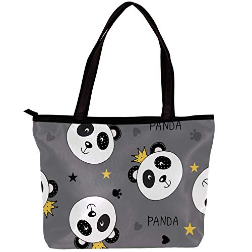 Laptop Bag for Women Crown Grey Panda Large Office Handbags Briefcase Fits Up to 15.6 inch Laptop 11.8x4.1x15.4in