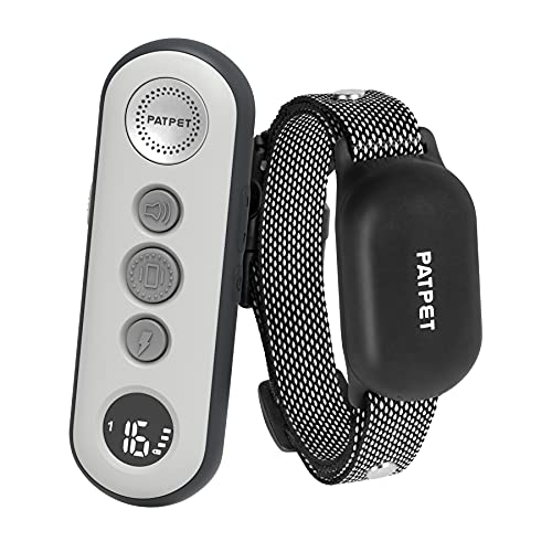 PATPET 2 In 1 Dog Training Collar w/3 Safe Training Modes, Rechargeable IPX7 Waterproof Shock Collar with Remote, 3000 Ft Control Perfect for Small Dogs(5-100lbs) - Electric Dog Barking Collar