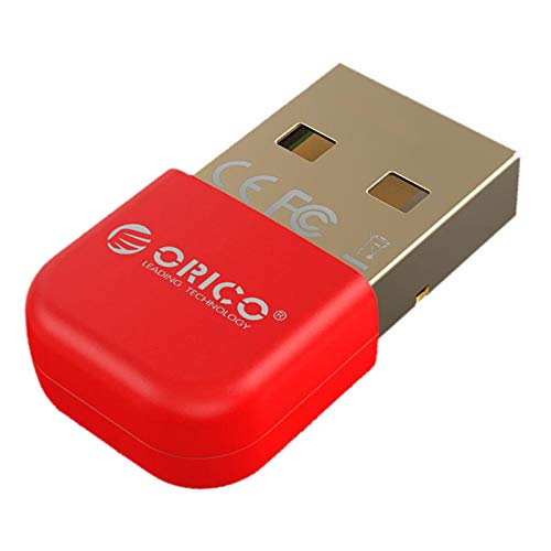 Prettyia Adaptador USB Bluetooth Dongle Receiver V4.0 para PC Portátil con Windows 7/8/10 - Rojo