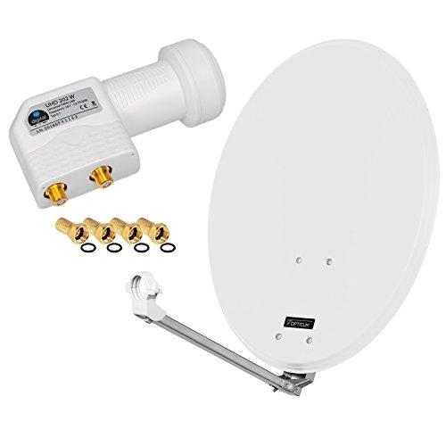 HB Digital 2 Teilnehmer Set - Skymaster SAT Anlage 60cm Spiegel Schüssel Hellgrau + Twin LNB zum Empfang von DVB-S/S2 Full HD 3D Ultra HD (UHD) Signale auf bis zu 2 Receiver + 4 Stecker