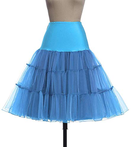 Skirt Silps Swing Petticoat Fluffy Pettiskirt Wedding Bridal Retro Vintage Women Gown,Large,SkyBlue14,